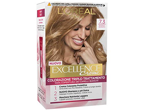 L'Oréal Paris Tinta Capelli Excellence, Copre i Capelli Bianchi, Colore Ricco, Luminoso e a Lunga Durata, 7.3 Biondo Dorato, Confezione da 1