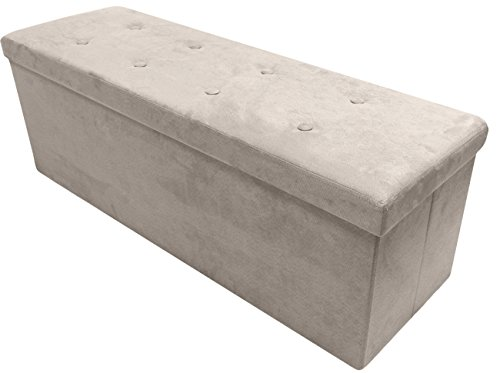 Sorbus Storage Ottoman Bench – Collapsible/Folding Bench Chest with Cover – Perfect Toy and Shoe Chest, Hope Chest, Pouffe Ottoman, Seat, Foot Rest, – Contemporary Faux Suede (Beige)