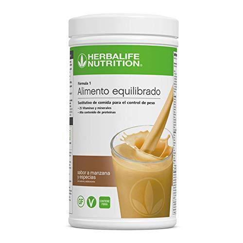 Batido Fórmula 1 Herbalife sustitutivo de comidas bajo en calorías. Rico en proteínas, vitaminas y minerales. Efecto saciante. Sabor Manzana y especias 550 g