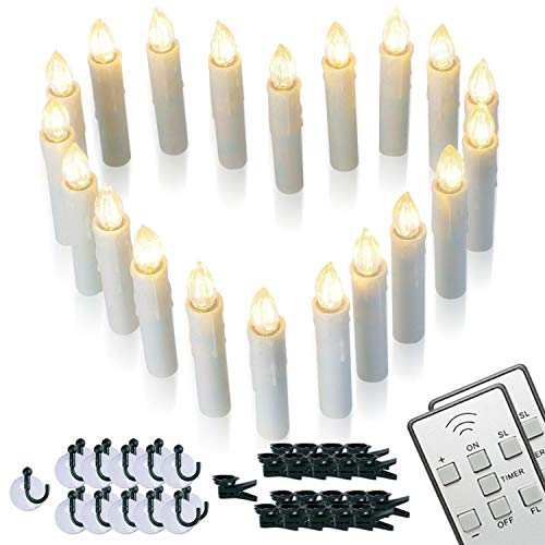 Homemory 20 PCS LED Window Candles with Remote Timer, Battery Operated Flameless Taper Christmas Candles Light with Clips/Suction Cups, Flickering Warm White Light, Dia 0.7