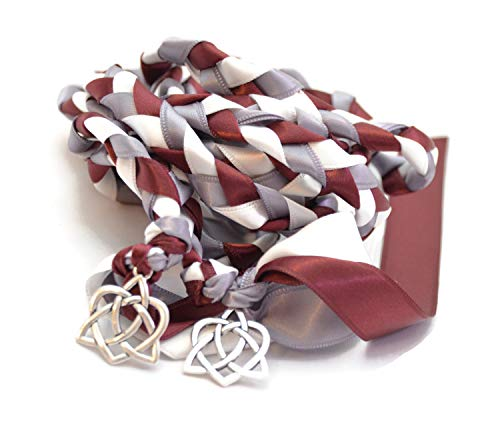Divinity Braid Burgundy Charm Celtic Heart Knot Wedding Handfasting Cord #Handfasting #Celtic #CelticHandfasting #Wedding #WeddingHandfasting