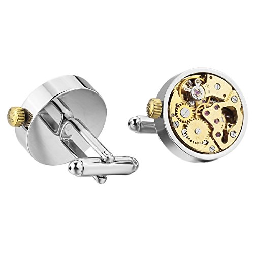 MunkiMix 2 PCS Rhodium Rhodiniert Manschettenknöpfe Silber Golden Zwei Ton Funktionsweise Uhrwerke Zoll Arbeit Zustand Herren
