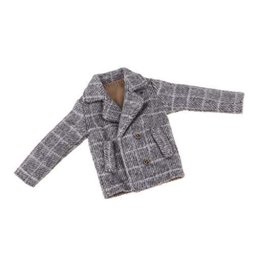 Fenteer Modische Puppe Outfit Kariert Wollmantel Jacke Winterkleidung Für 1/6 Blythe Puppe Dress Up - Grau