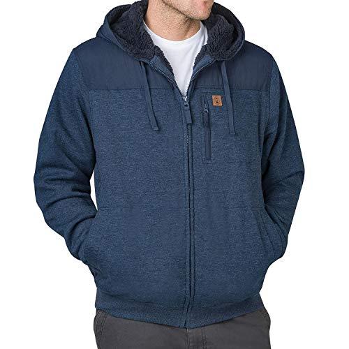 Coleman Sherpa Lined Men's Hoodie Hooded Full-Zip Jacket (Medium, Indigo Heather)