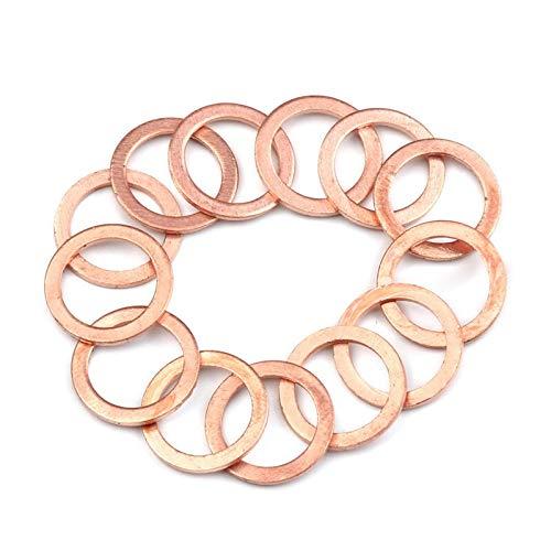 Junta tórica 10/20 / 50pcs arandela de cobre sólido anillo plano de la junta del anillo de la junta del plug sello de aceite de enchufe arandelas accesorios de hardware de sujeción Anillo de sellado