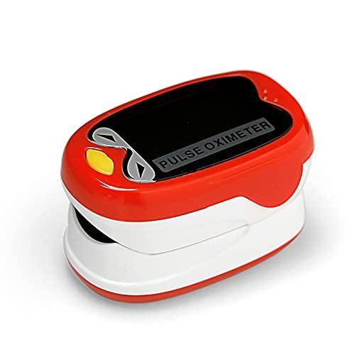 LABE Fingerspitzen-Pulsoximeter, geeignet für Säuglings-Sauerstoff-Sättigungs-Herzfrequenz-Monitor mit automatischem Schlafmodus, 4-Wege-OLED-Display, einschließlich Lanyard (Color : Red)