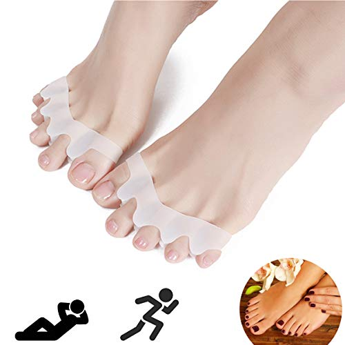 Toe Separators, Toe Stretchers, Toe Separators Stretchers, Gel Rubber Silicone Toe Spacers, Hammer Straighten Correct Bunion Pain Toe, Shoe Stretcher House Shoes for Women and Men Upgraded (White)