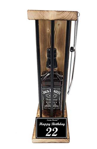 * Happy Birthday 22 Geburtstag - Eiserne Reserve ® Black Edition mit Jack Daniels 0,70L incl. Säge zum zersägen der Stäbe - lustige witzige Geschenkidee