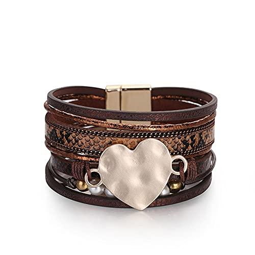 TTNM Amorcome Handmade Love Heart Leather Wrap Bracelet for Women Girls Leopard Snake Pattern Magnetic Buckle Cuff Bracelets HOT (Metal Color: Brown)