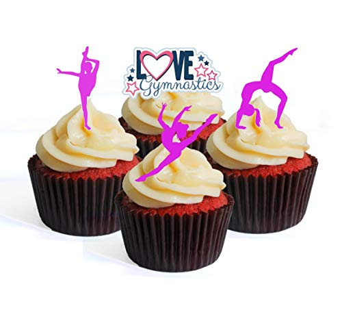 Purple Lila Gymnastics Silhouette Edible Cupcake Toppers – Stand Up Wafer Cake Decorations, pourpre, Packung mit 24
