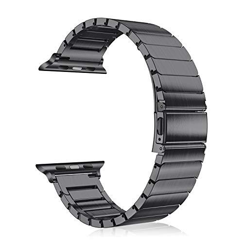 Fintie, schakelarmband, roestvrij staal, metaal, vervangende band, armband, compatibel met Apple Watch 44mm 42mm Series 5/4/3/2/1, zwart
