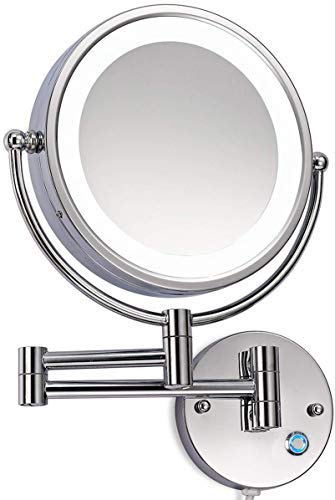Loywe LED Beleuchtet wunderschöne Kosmetikspiegel 1+10 Fach (3cm extra dick) hochwertig ohne Bohren LWW58-10-NB