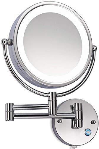 LED Beleuchtet wunderschöne Kosmetikspiegel 1+10Fach (3cm extra dick) hochwertig ohne Bohren JL58NB (7 Fach)