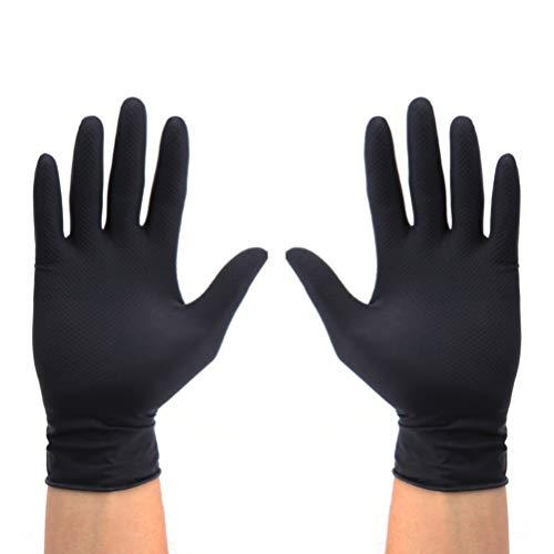 Minkissy 10 Stück Wiederverwendbare Latexhandschuhe Schwarzer Salon Haarfarbe Handschuhe Tragbare Labor Lebensmittelverarbeitung Haushaltsreinigungshandschuhe Mittlerer Größe