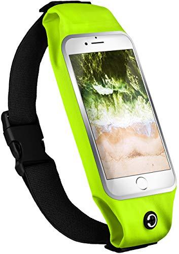 moex Handy Laufgürtel kompatibel mit Xiaomi Redmi 9 | Handytasche Sport Gürtel Joggen Lauftasche frei verstellbar mit Sichtfenster - Fitness Laufen, Neon-Grün