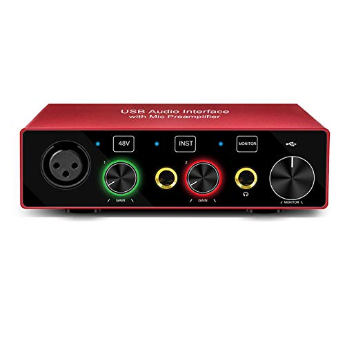 USB 2x2 Audio Interface with Mic Preamplifier 24Bit/96KHz Mixer Recorder with 48V Phantom Power Used for Instrument Guitar Bass (AR001)