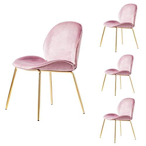 JIEER-C Ergonomische stoel, 4 stuks, elegante eetkamerstoelen voor vrije tijd, comfortabel, zacht kussen van fluweel, voeten van metaal, goudkleurig, voor slaapkamer en woonkamer