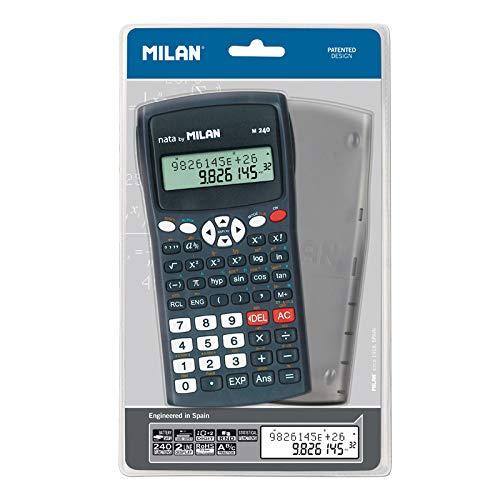 Milan 159110KBL - Calculadora científica con pantalla LCD de 2 líneas