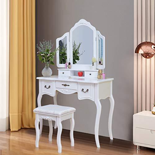 Cuoff Vanity Set with Lighted Mirror, Makeup Vanity Dressing Table Dresser Writing Desk with Drawer for Bedroom Easy Assembly Bedroom Furniture (K)