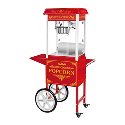 Royal Catering RCPW-16.3 Popcornmaschine Popcornmaker mit Wagen (1600 W, 5 kg/h 16 L/h, Topfbeschichtung Teflon) Retro Rot