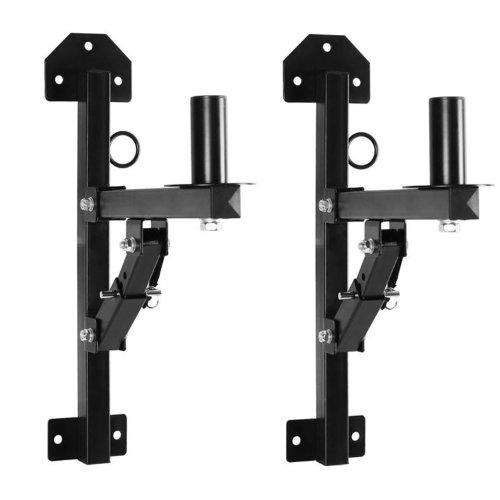 MALONE ST-2-WSS Universal PA Lautsprecher Wand Halterung 2er Paar Wandhalterung für PA-und HiFi-Boxen mit Flansch (für 35mm Flansch, 3-stufig Verstellbarer Winkel, Metall, für je max. 50kg) schwarz