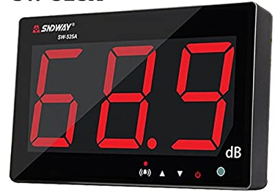 TestHelper Sound Level Meter Tester 30~130db 9.7'' Large Screen LCD Display Wall Hanging Type Decibel Noise Measuring with Alarm