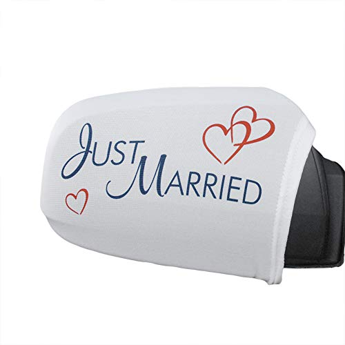Autodeko Hochzeit für Außenspiegel 2 Überzüge mit Schriftzug für Seitenspiegel am Hochzeitsauto
