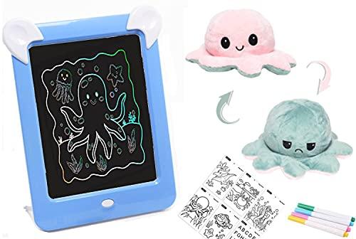 Pizarra magnética Infantil + PULPO reversible - pizarra mágica para niños con marco de fotos y luces led ( 8 efectos de luces , 4 rotuladores y 20 patrones de dibujo) (Azul)