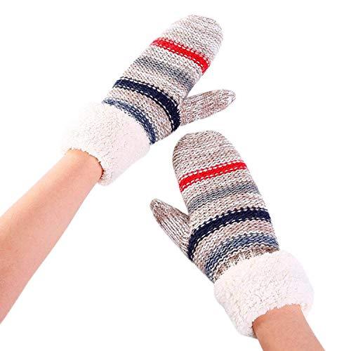 BOLAWOO-77 Handschuhe Damen Wärmen Strickhandschuhe Skihandschuhe Mode Verdicken Streifen Fahrradhandschuhe Mode Marken Arbeitshandschuhe Fahren Handschuhe (Color : Grau, Size : 32 * 8cm)