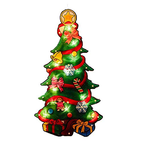CAOLATOR Weihnachtsbaum Silhouette LED-beleuchtet Metallic-Silhouette Weihnachten Fensterbilder Weihnachten Leuchtend Weihnachtsfenste