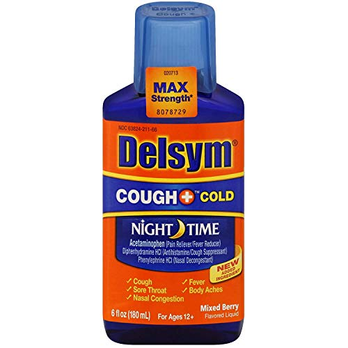 Delsym Maximum Strength Cough + Cold Night Time Liquid, Mixed Berry- Cough Medicine With Acetaminophen, Diphenhydramine & Phenylephrine To Relieve Sore Throat, Headache, Bodyache & Fever, 6 oz