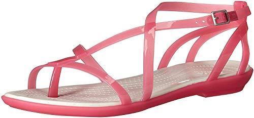 Crocs Women's Isabella Gladiator Sandal W Flat, paradise pink/oyster, 11 M US