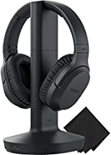 Sony Wireless RF Home Theater TV Headphones with Transmitter - 150-ft Wireless Range, Up to 20 Hours of Play Time (Black) & Zonoz Microfiber Cleaning Cloth Bundle