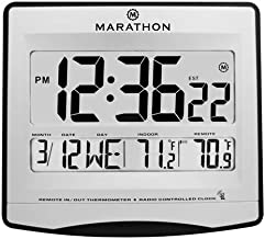 Marathon Commercial Grade Atomic Wall Clock with Multiple Timezones, Indoor Temperature & Date - Batteries Included - CL030027LV (Legacy Silver)