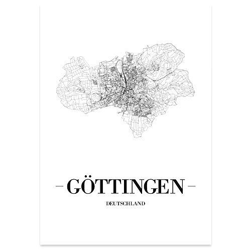 JUNIWORDS Stadtposter, Göttingen, Wähle eine Größe, 21 x 30 cm, Poster, Schrift A, Weiß