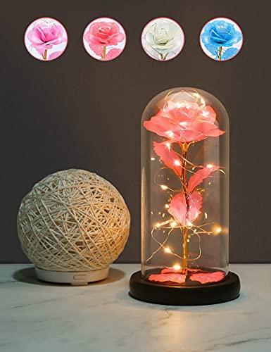 Rosa Eterna, Rosa Bella y Bestia, Gomyhom Galaxy Rosa, luz LED en Vidrio, Regalos Originales para Día de San Valentín, el Día de Madre, Mujer Novia Esposa, Cumpleaños Regalo (Naranja)