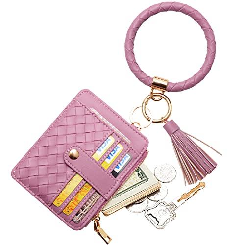 COOLANS Wristlet Bracelet Keychain Card Holder Card Pocket PU Leather Purse Tassel Keychain Bangle Key Ring for Women Girls (Purse A5 Braid pattern Dark purple)