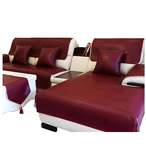 Waterproof Antislip Sofa Cover Wine Red Multi-size Leather Fabric Sofa Slipcover Couch Cover Protector for Sectional Sofa Living Room, Prevent Animal Urine Destroy Sofa Furniture