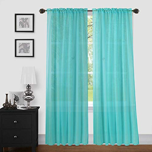 """Sapphire Home 2 Panels Window Sheer Curtains 54"""" x 84"""" Inches (108"""" Total Width), Voile Panels for Bedroom Living Room, Rod Pocket, Decorative Curtains, Solid Sheer Curtains Turquoise"""