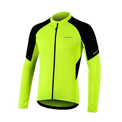 BERGRISAR Men's Basic Cycling Jerseys Long Sleeves Bike Bicycle Shirt Zipper Pockets BG012 Yellow Size Large
