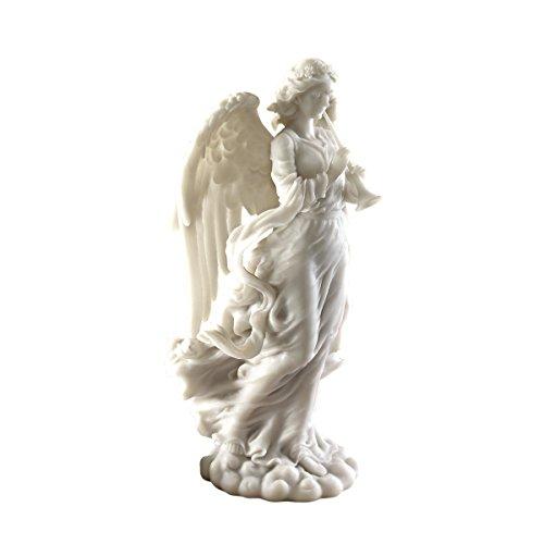 Design Toscano Trompetender Kathedralenengel, Figur aus kunstharzgebundenem Marmor