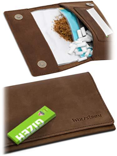 Tabaktasche 'Halona' – Kompakter Tabak-Beutel Leder, Set inkl. Gizeh Papers – Dreher-Tasche mit Magnetverschluss, Filterfach & Blättchen-Halter – Swedish Brown