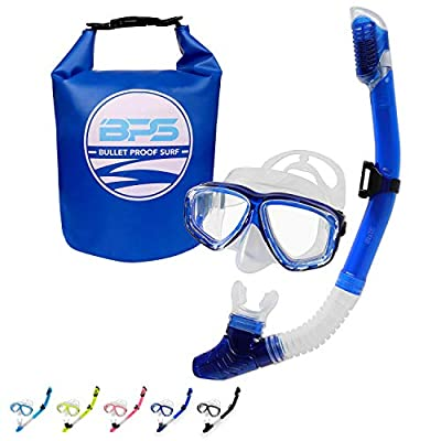 BPS Snorkeling Package Set with Waterproof Bag - Scuba Diving Full Set with 5 Liter Dry Bag/Snorkel Set - with Snorkel and Diving Mask (Blue)