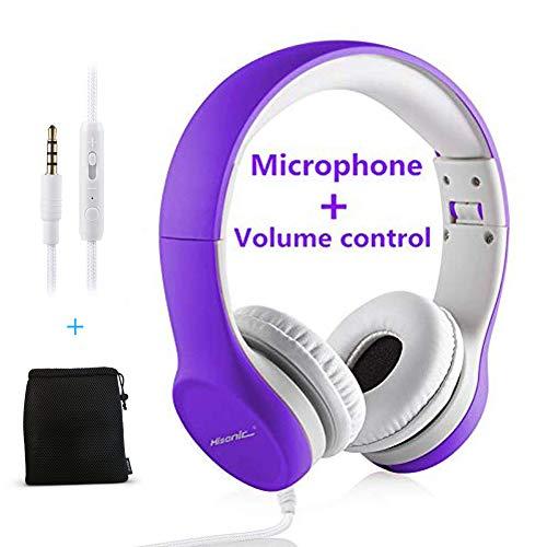 Hisonic Kopfhörer für Kinder, Leicht kopfhörer Kinder Kopfhörer mit Laustärkebegrenzung auch Mikrofon Verstellbare Kinder Erwachsene Headset für Jungen und mädchen ab 3 Jahre (violett)