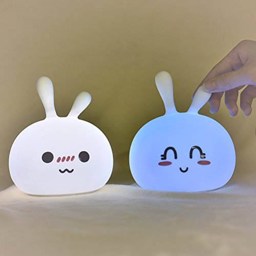 Mobestech Silicone Night Light Cartoon Bunny Portable Rechargeable Bedside Lamp for Kids Girls Babies Ladies