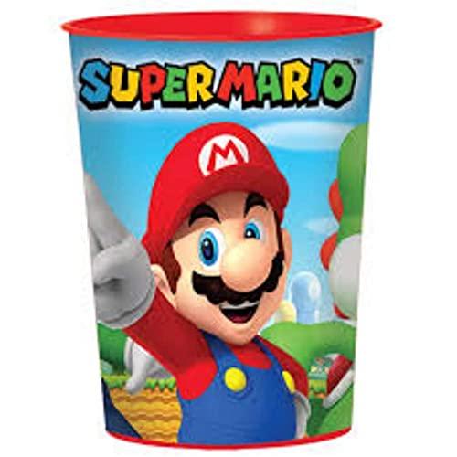 Lote de 10 Vasos Infantiles'Super Mario Bros'. Vajillas y Cuberterías. Juguetes para Fiestas de Cumpleaños, Bodas, Bautizos y Comuniones.