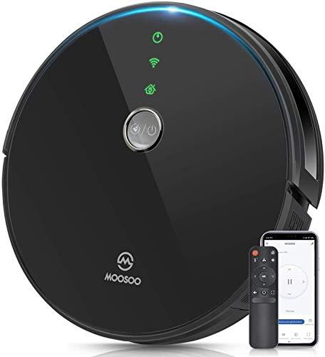 MooSoo Saugroboter WLAN 2000Pa mit Intelligenter Navigation, Alexa & App Steuerung, 120Min. Akkulaufzeit, Selbstaufladung, 55dB Geräuscharm, Staubsauger Roboter für Tierhaare, Teppiche, Hartböden