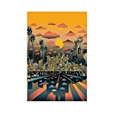 Póster abstracto de la ciudad de Los Ángeles de viaje del mundo abstracto en lienzo de pared para decoración de sala de estar, dormitorio, decoración de Unframe: 50 x 75 cm