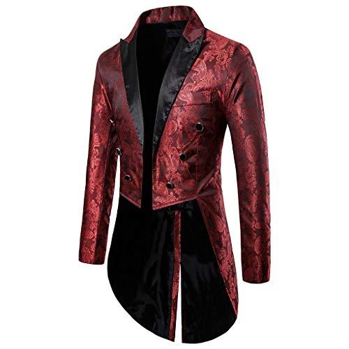 AmyGline Herren Mantel Frack Jacke Gothic Gehrock Uniform Kleid Männer Steampunk Smoking Mäntel Blazer Fit Anzug Strickjacke Party Cosplay Kostüm Outwear