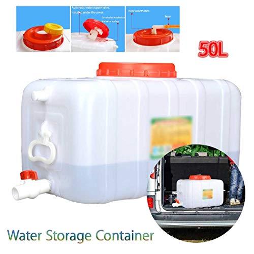 Almacenamiento de Agua para Acampada Contenedor De Agua Portátil Tanque Bidón Plástico con Grifo, 50L Tanque de Almacenamiento Agua, Adecuado para Coches de Viaje Recipiente de Almacenamiento de Agua